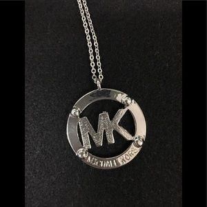 "Michael Kors Emblem Silver 30"" Necklace - Gorgeous"