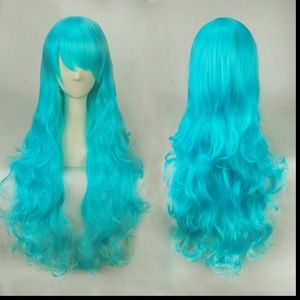 Long Wavy Electric Blue Lolita Cosplay Wig, NEW!