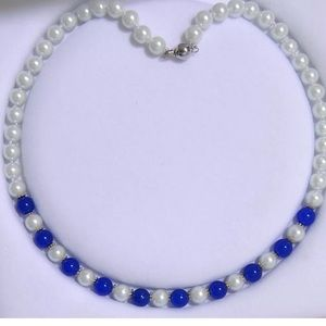 Necklace of Akoya Pearls and Blue Jade 18 inches