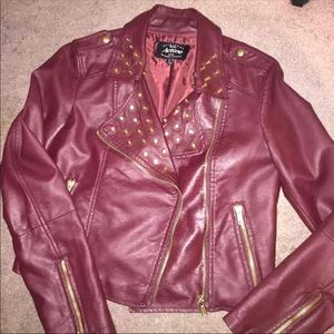 Jackets & Blazers - Burgundy Pleather Jacket