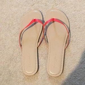 Banana republic leather flip flops in orange-red❤️
