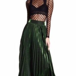 TOV HOLY Metallic Green Accordion Maxi Skirt