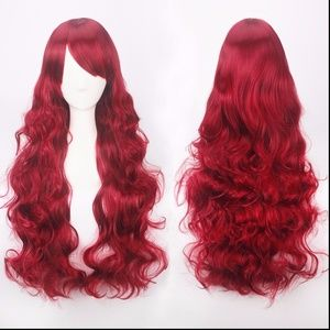 Long Wavy Wine Red Burgundy Lolita Cosplay Wig NEW