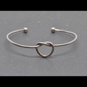 Silver Love Knot Bangle Bracelet