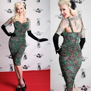 Tatyana Leopard Glam Pencil 50s Dress w Green Bows