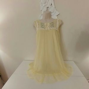 Vintage yellow chiffon nightie with embroidery