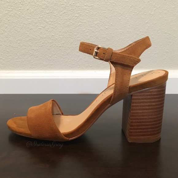 7c85cbaef2c Sole Society Shoes - Sole Society- Linny Chestnut Suede Block Heel 5.5