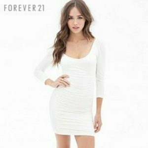 Forever 21 White Long Sleeve Mini Dress