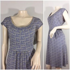 BODEN SOFT STRETCH COTTON BEIGE BLUE DRESS size 10
