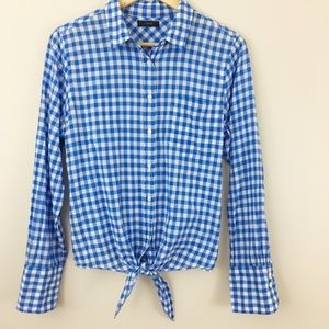 J. Crew | Gingham Tie Up Bottom Button Down Top