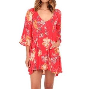 Free People Eyes on You Mini Dress Red Floral Sz 4