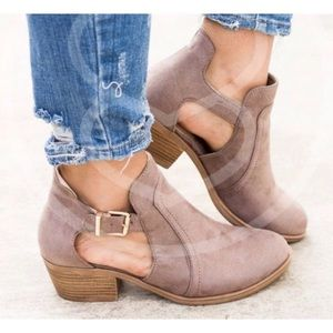 Taupe Cut Out Booties 10