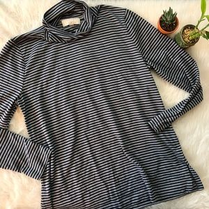 NWOT Loft Blue Striped Turtleneck Sweater