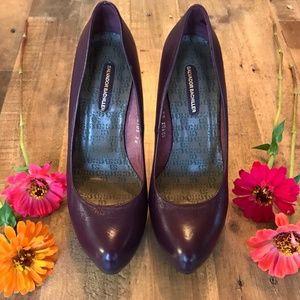 Salvador Bachiller Purple Leather Heels