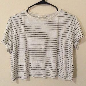 H&M striped crop t-shirt size medium