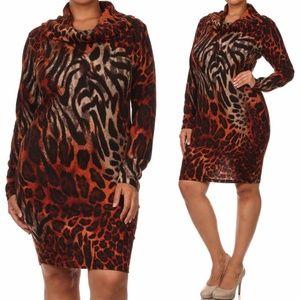 Plus Leopard Cowl Neck Sweater Dress Tunic Top