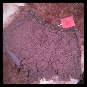 Olive drab crochet knit shorts NWT
