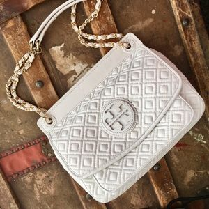 Tory Burch Marion Quilted Leather Saddle Bag white