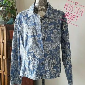 Croft and Barrow Blue Paisley denim jacket Plus 2x