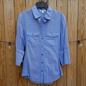 JAMES PERSE 3/4 Sleeve Cotton Knit Button Down