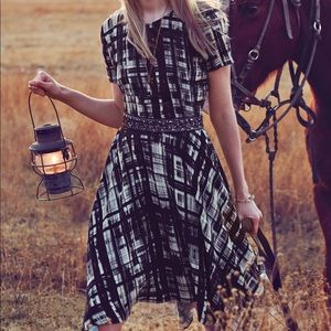 [Anthropologie] Painted Plaid Navy Dress