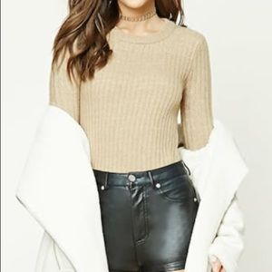 Forever 21 taupe colored ribbed sweater.