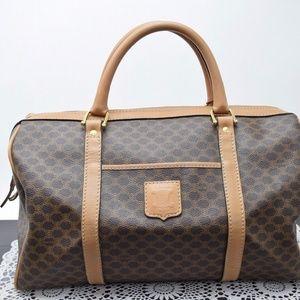 Auth CELINE Macadam Pattern Boston Hand Bag