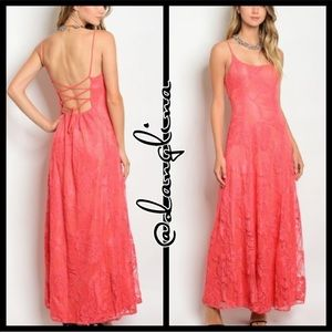 Lovely in floral laced lace up maxi dress