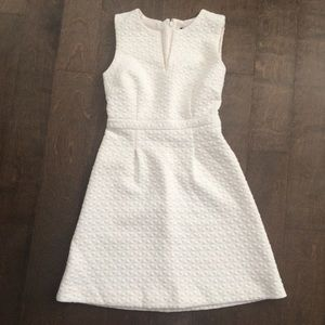 Off white Textured A Line Dress