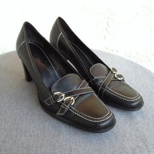 Coach Black Leather Loafer Pumps Heels Shoes Italy