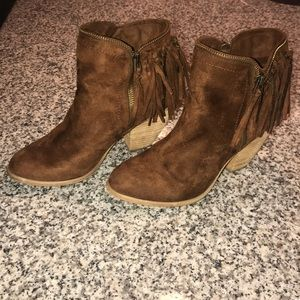 Brown fringe booties size 8