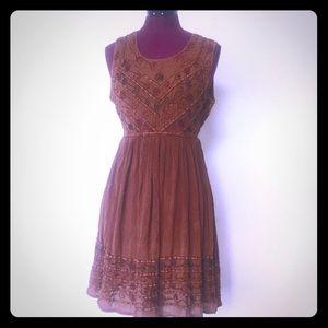 Vintage 90s Mini Dress Rust Rayon Embroidered S M