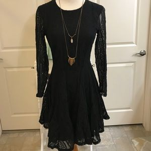Anthropologie free people size 4 black lace dress