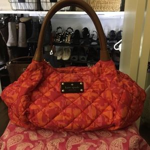 Kate Spade Orange Cherry Pink Quilted Bag
