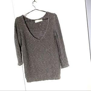 Zara V-neck cotton grey sweater