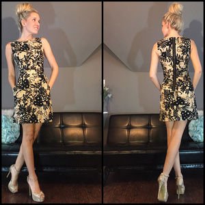 Black and Tan Floral Patter Professional Dress