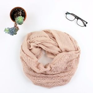 Petal Pink Embroidered Infinity scarf