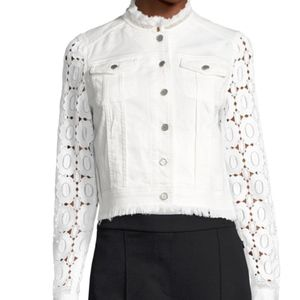 Elie Tahari Meggie Lace-Back Denim Jacket