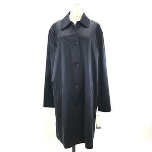 Elegant 100% Silk Navy Blue Trench Coat