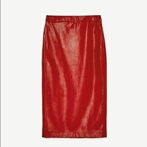 Zara Red Faux Leather Pencil Skirt