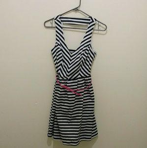 CharlotteRusse Navy White striped dress-size S NWT