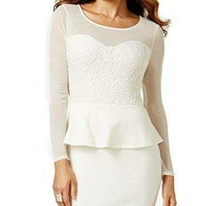 White Thalia Beautiful Illusion Peplum Dress
