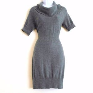 Ann Taylor Loft Gray Knit SWEATER DRESS Cowl Neck