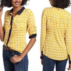 Anthropologie Maeve yellow and white horse shirt