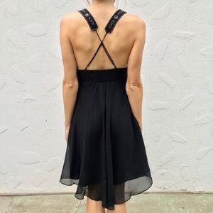 Lapis Beaded Black Dress