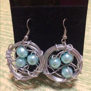 Handmade Bird Nest Earrings