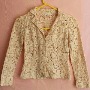 Blush Pink Nanette Lepore Crochet Cardigan