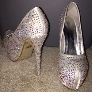 White sparkly heels