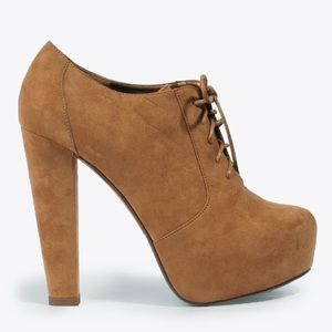 Forever 21 Beige Suede Lace Up Platform Booties, 7