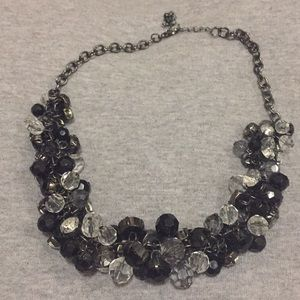Express Black/Clear Cluster Gems Necklace